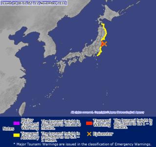 La cartina dell'agenzia meteorologica giapponese