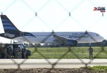 L'aereo della compagnia Afriqiyah a Malta