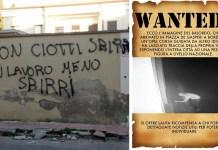 Le scritte contro don Ciotti, sindaco di Locri posta foto autore su Fb