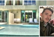 La piscina del resort dove è stato morto Alessandro Grandis, nel riquadro