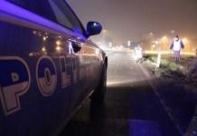 Polizia stradale in autostrada dopo incidente