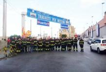 protesta dei vigili del fuoco precari a Villa San Giovanni.