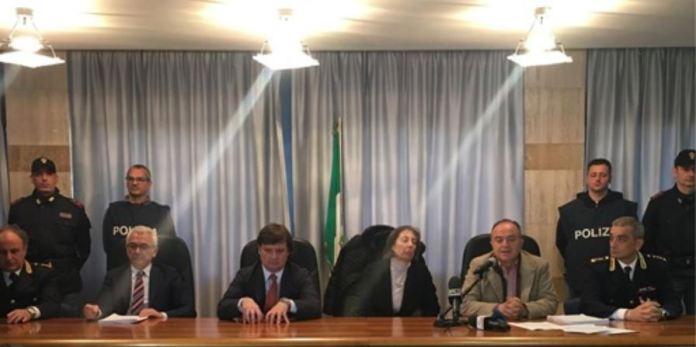 Un momento della conferenz stampa della Dda a Catanzaro