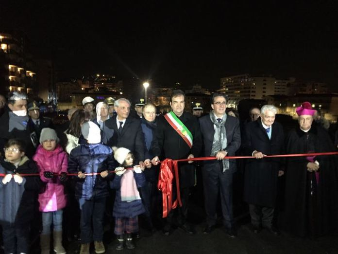 Un momento dell'inaugurazione del ponte di calatrava