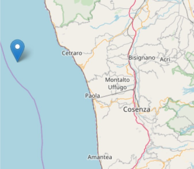 Scossa di terremoto di magnitudo 3.3 a largo di Cetraro
