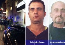 Da sinistra Armando Petrolo e Fabrizio Greco, ritenuti i rapinatori seriali in case nel Vibonese