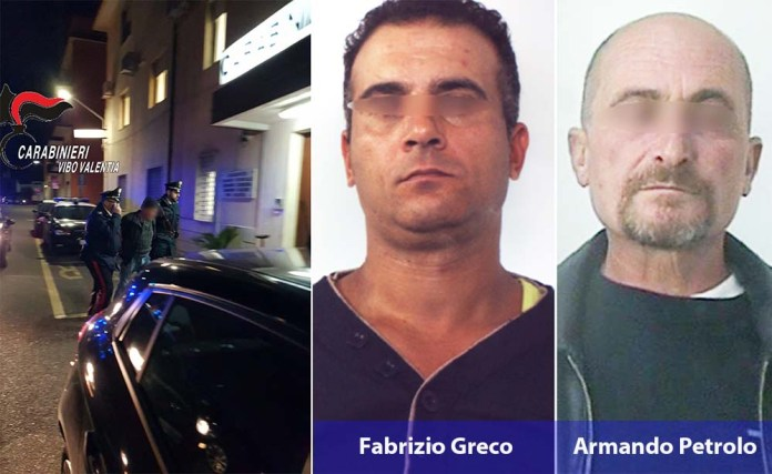 Fabrizio Greco e Armando Petrolo, ritenuti i rapinatori seriali in case nel Vibonese