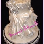 white wedding cake inspired bride gown in white and silver accents from Second Slices® cake shop cupcakes bakery in Edmonton AB