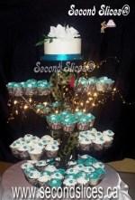 teal wedding cupcakes tower