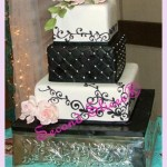 black and white square 3 tiers wedding cake with pink roses from Second Slices® cake shop n bakery in Edmonton AB