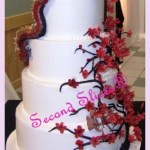 cherry blossom with dragon white round wedding cake from Second Slices® Cakery in Edmonton AB - cake shop, bakery