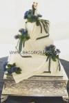 scottish thistle wedding square cake whithe with drape fondant white from Second Slices® Cakery in Edmonton AB - cake shop