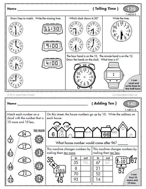 1st Grade Common Core Homework Add-on Pack