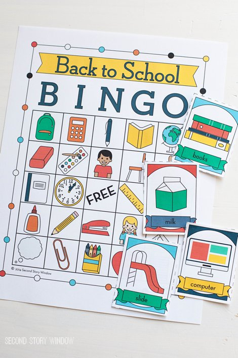 Back to School Printable Picture Bingo
