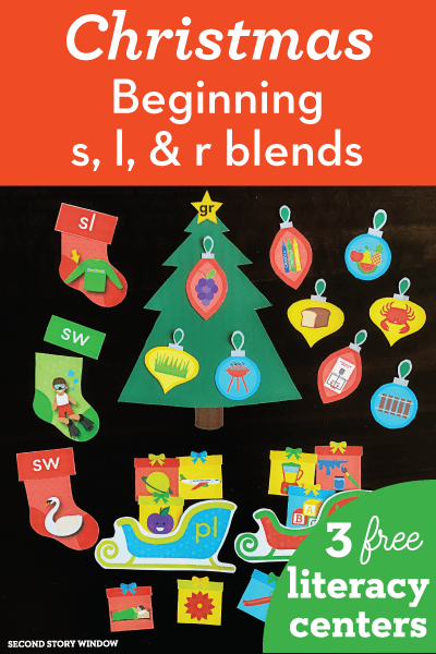 free christmas beginning blends literacy centers