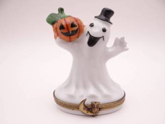 Vintage Limoges France Hand Painted Halloween Ghost and Pumpkin Trinket Box or Pill Box