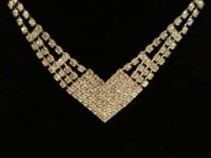 """Vintage Modern Rhinestone Necklace on a Silver Tone Setting with Fold Over Clasp - Elegant and Classic - 15.25"""" Clear Rhinestone Necklace"""