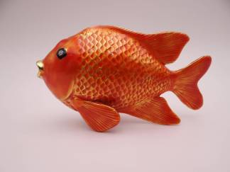Vintage Goldfish Hand Painted Trinket Box Pill Box - So cute