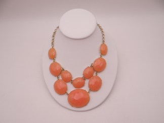 Peach Coral Rhinestone Necklace