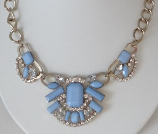 blue clear rhinestone bead necklace