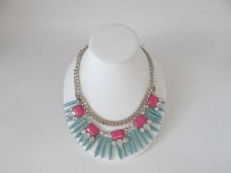 Bright pink and tuquoise bead necklace with clear rhinestones