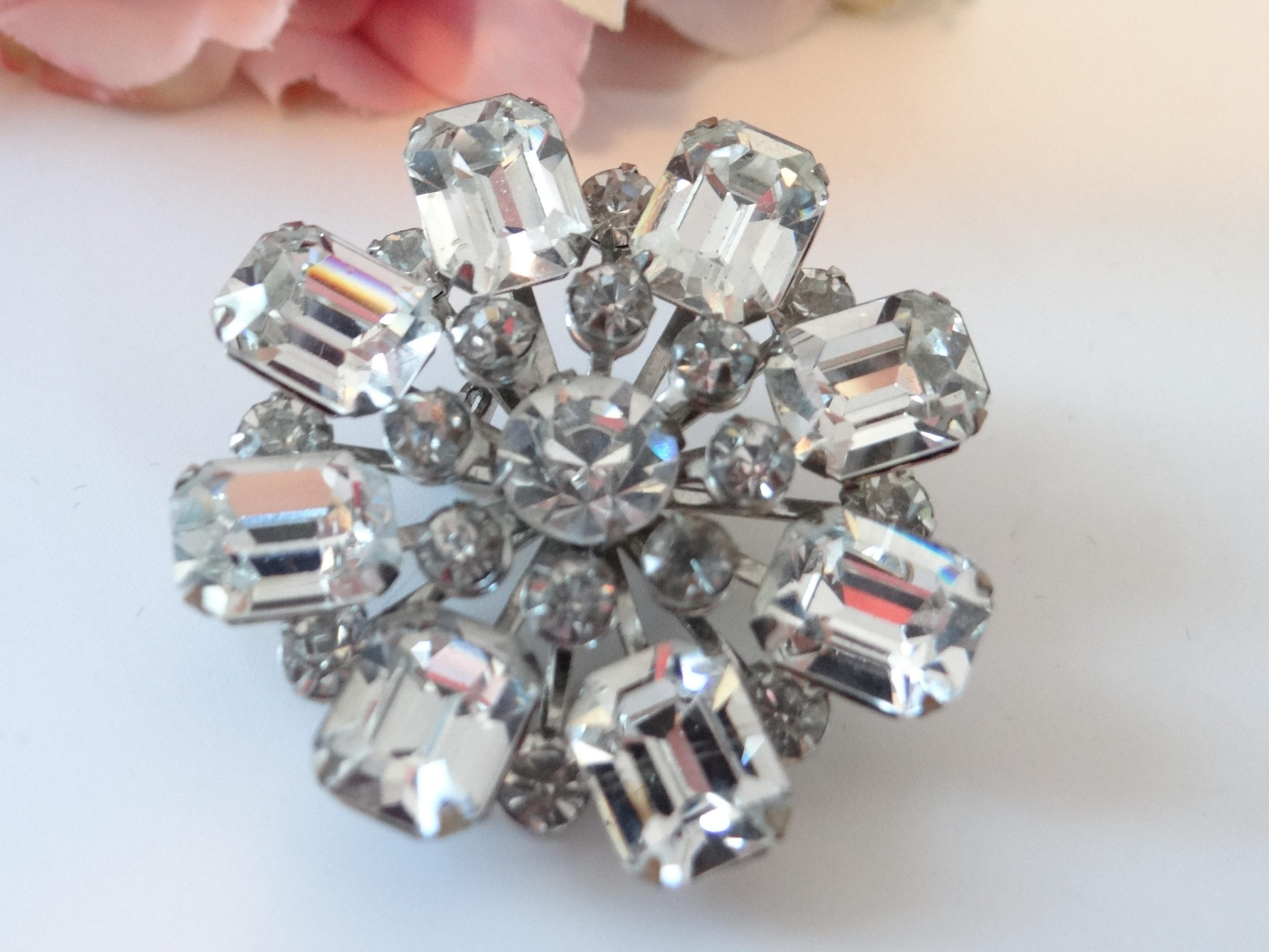 Prong Set in Silver Tone Metal Rounds and Emerald Cut Rhinestone Brooch Large Layered Clear Unsigned