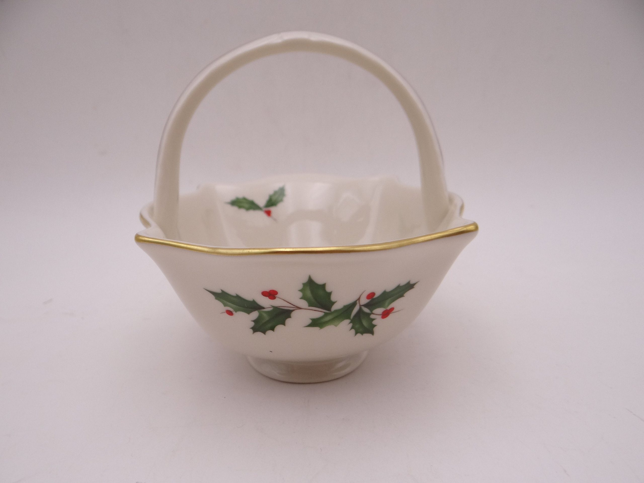 Vintage Basket with Holly Dish