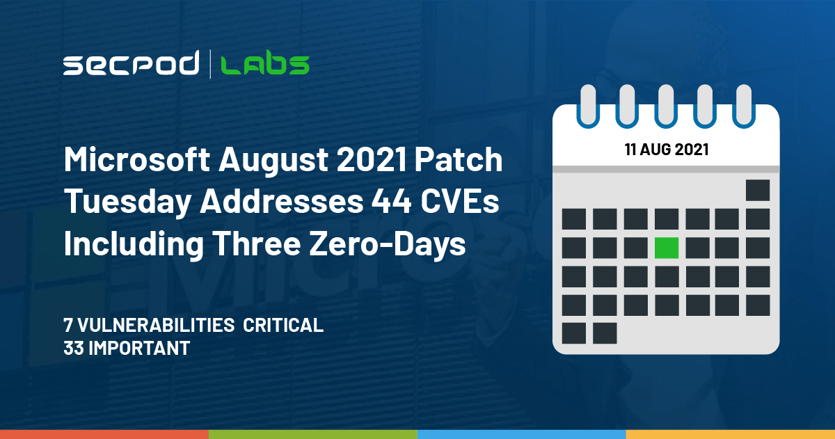 You are currently viewing Microsoft August 2021 Patch Tuesday Addresses 44 CVEs Including Three Zero-Days