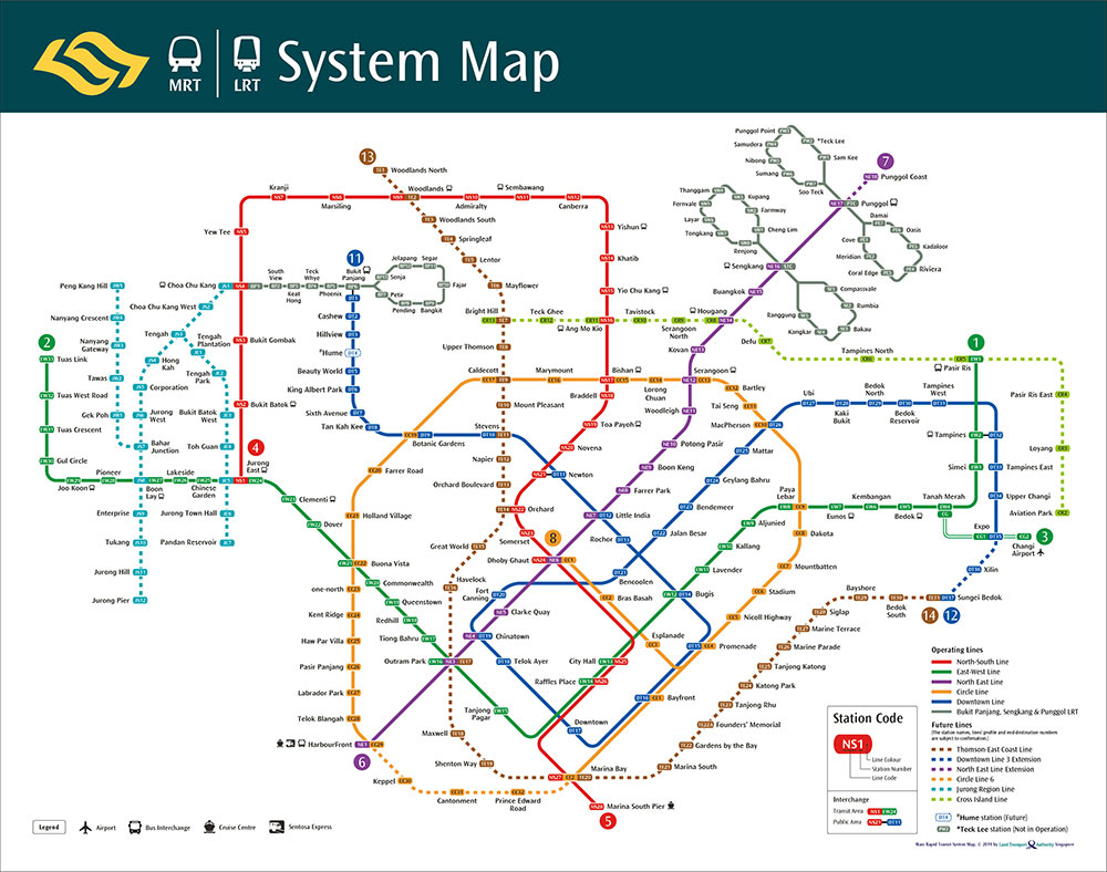 Singapore MRT LRT System Map