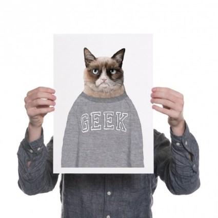 grump cat geek print