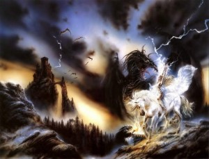 Luis royo - fantasy art - dragon and unicorn (lovecry org)
