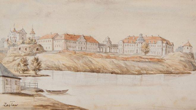 Дворец Сангушко — вид с реки Горынь