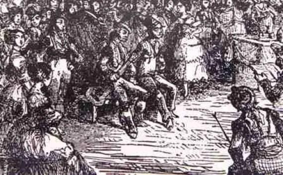 El Planeta (guitarra en mano), con El Fillo en la famosa fiesta de Triana. Lameyer