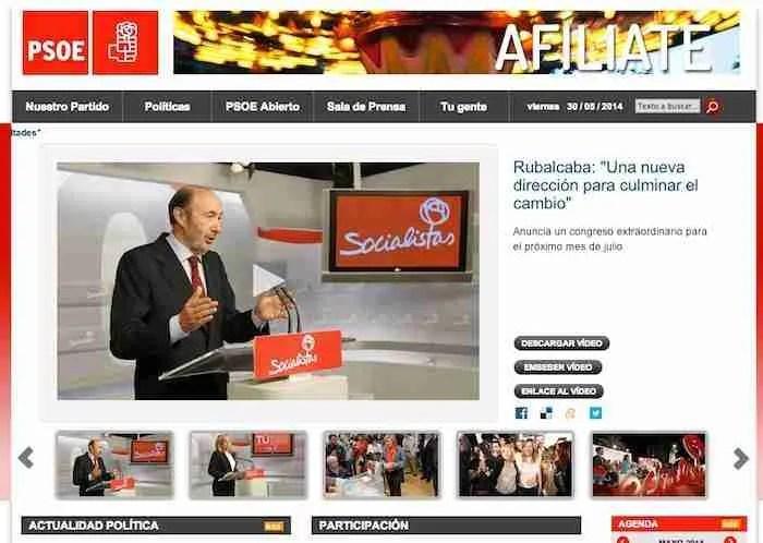 La página principal de la web del PSOE no deja margen para la duda en la decidida apuesta que realiza Ferraz, pues exclusivamente contiene imágenes de Rubalcaba, Valenciano y Díaz.