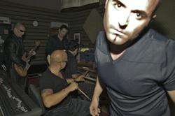 Studio band in rehearsal