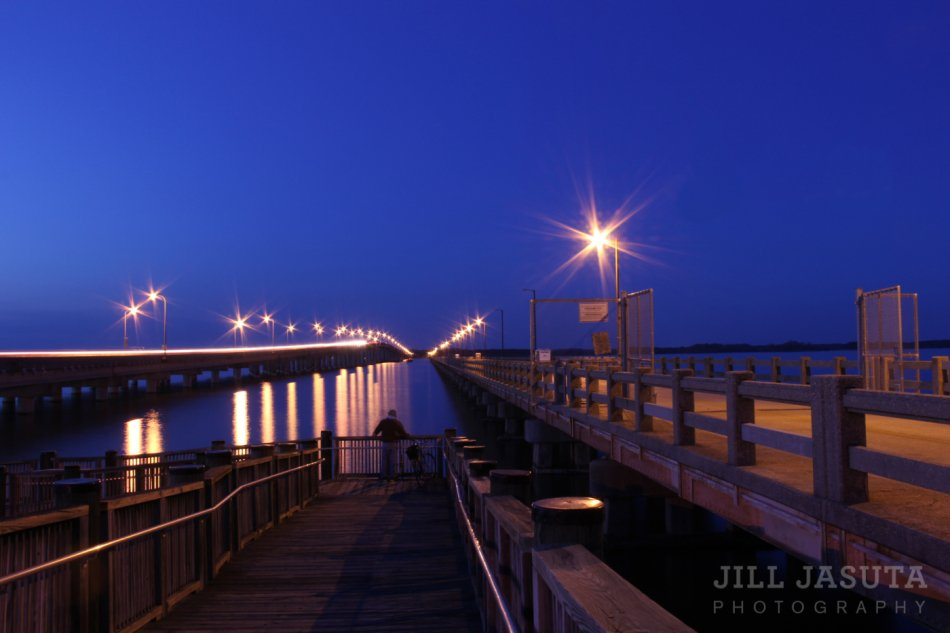 Twin Bridges at Twilight, Choptank River in Cambridge (JJP)