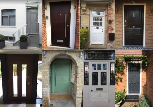 Collage of security front doors