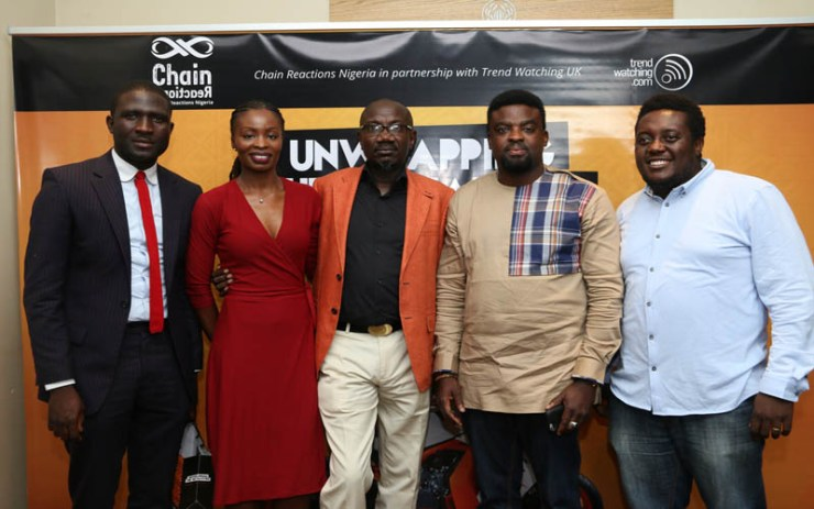 """Fashion Designer, Tayo Gabriels; EbonyLive TV Presenter, Lamide Akintobi, MD/Chief Strategist, Chain Reactions Nigeria, Israel Jaiye Opayemi, Nollywood Actor/Producer, Kunle Afolayan, Blogger/Co-Founder 360Nobs, Oye Akindehinde at the unveiling of The Nigerian Youth Trends Report, themed """"Unwrapping The Nu Natives"""" undertaken by Chain Reactions Nigeria and TrendWatching, United Kingdom in Lagos"""