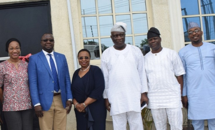 Director, La Roche Leadership Foundation, Mrs. Marina Osoba; Special Adviser to the Lagos State Governor, Lagos Global, Prof. Ademola Abass; member, Board of Directors, La Roche Leadership Foundation, Mrs. Titi Anibaba; Chairman, Board of Directors of the Foundation, Justice Adesola Oguntade (rtd.); Senior Special Assistant to the Governor on Political Affairs, Engr. Adekunle Olayinka; Director, Legal Services, Lagos Internal Revenue Service (LIRS), Barr. Seyi Alade during the formal launching of La Roche Leadership Foundation at Gbagada, Lagos