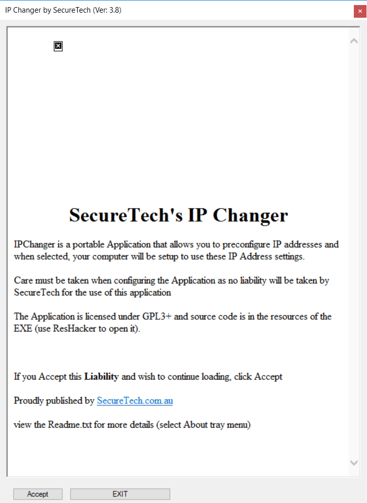 IPChanger for Windows 10 IPV4 Disclaimer window