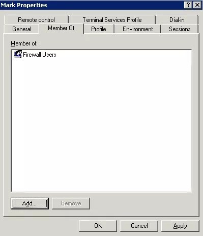 Screenshot showing user is a member of firewall users group