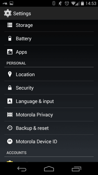 """Most settings regarding screen lock and certificates are available in the """"Security"""" menu in the Android settings. Although your mileage my vary depending on device."""