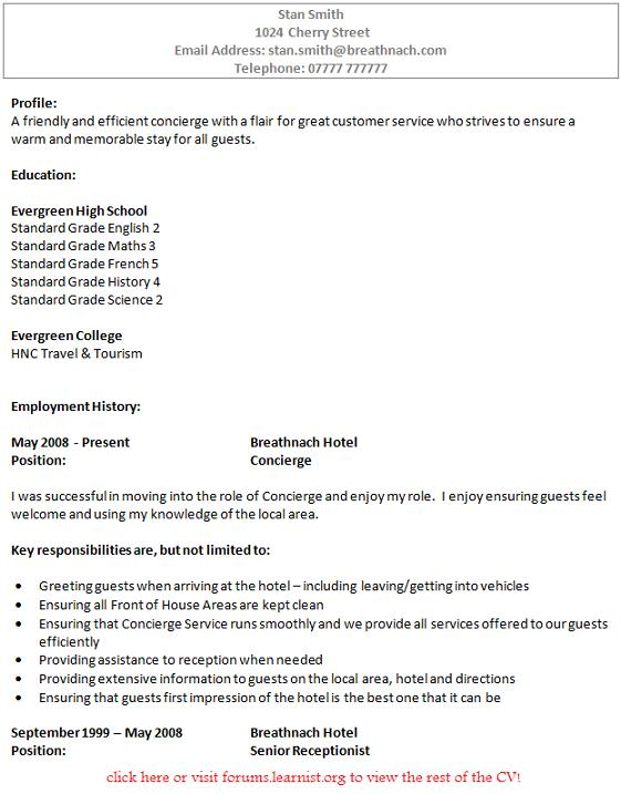 Residential concierge cover letter
