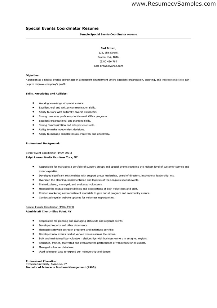 Event Coordinator Sample Resume Objective 1000 images about best – Event Coordinator Resume