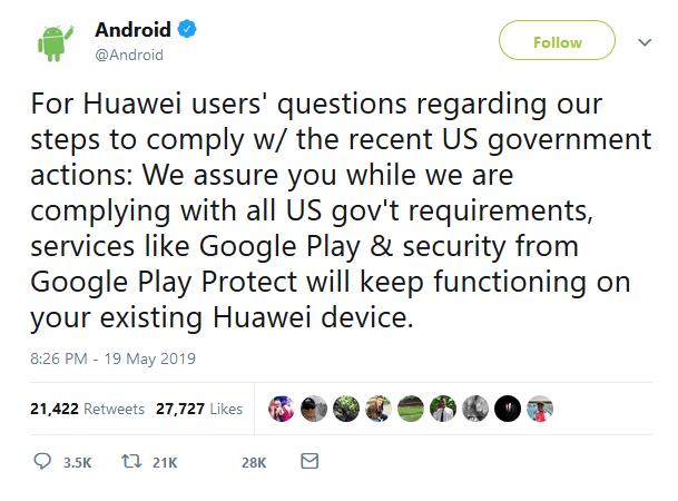 Android's Tweet on Huawei Ban
