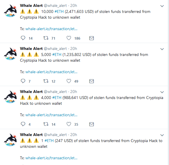 Whale Alert Tweets Showing Transactions Related to the Hack