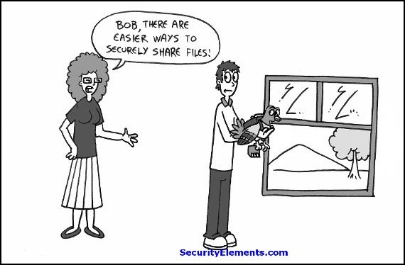 secure file sharing cartoon with border - for blog