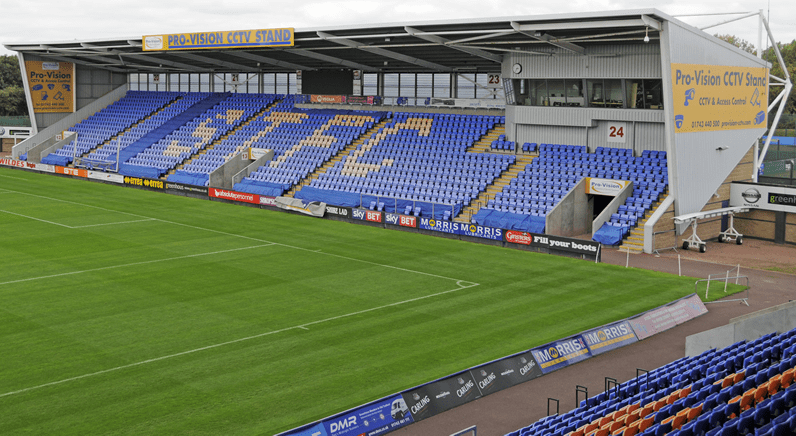 New Signage on the Pro-Vision CCTV 'Stand' at Shrewsbury Town FC
