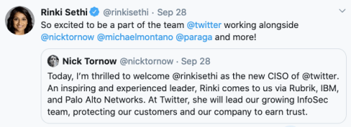 Rinki Sethi appointed the new CISO of Twitter