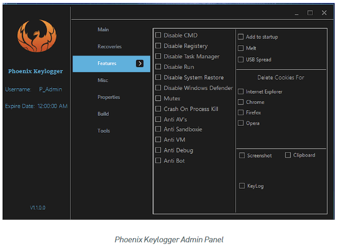 Control Panel for Phoenix Keylogger Infostealer